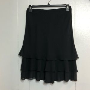 MSK Black Layered Chiffon Petite Skirt